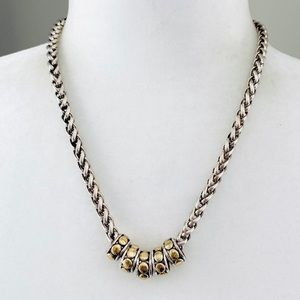 Chico's chunky metal silver/gold tone necklace